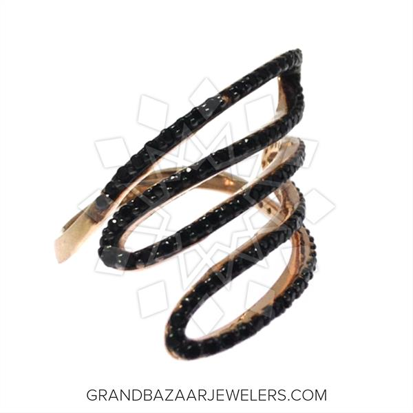 Chic Black Gemstone Cocktail Rings