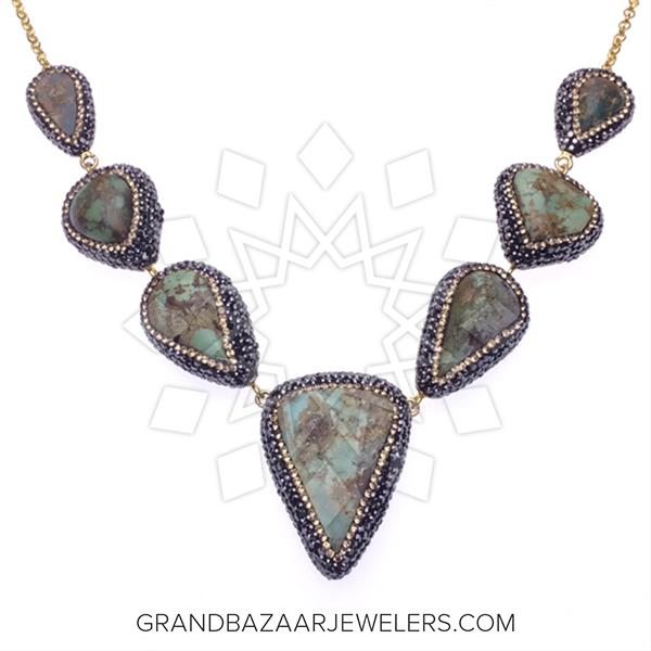 Designer Multi Drop Gemstone Necklace