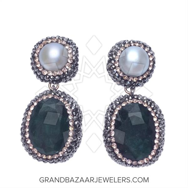 Double Drop Gems and Crystal Necklace