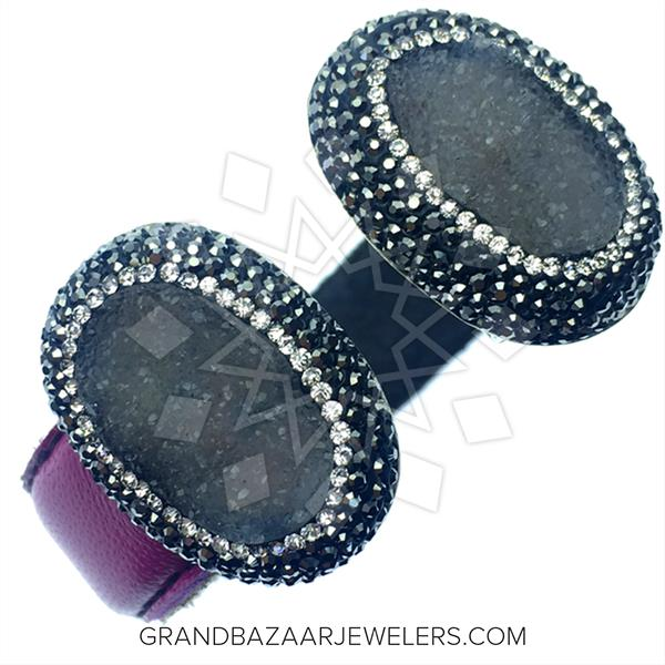 Gem and Crystal Leather Cuff Bracelets