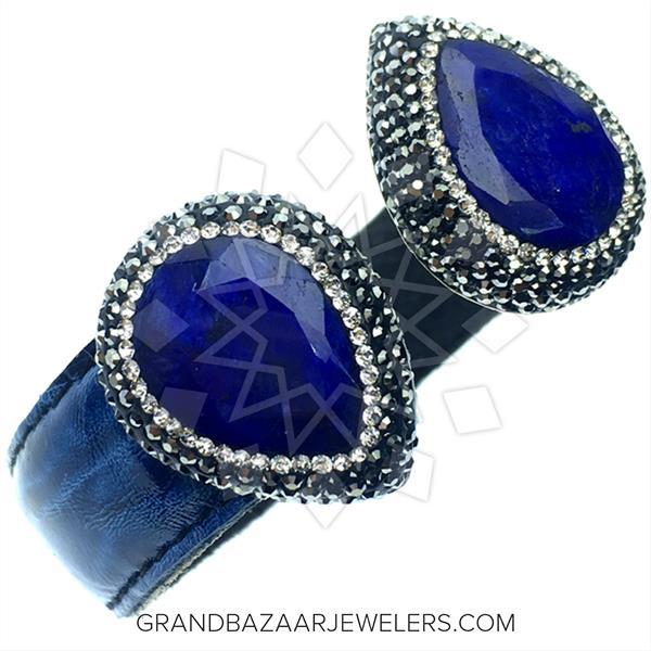 Gem and Crystal Leather Cuff Bracelets