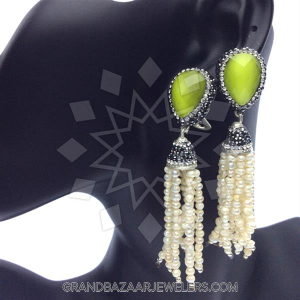 Gem and Crystal Tassel Fringe Earrings