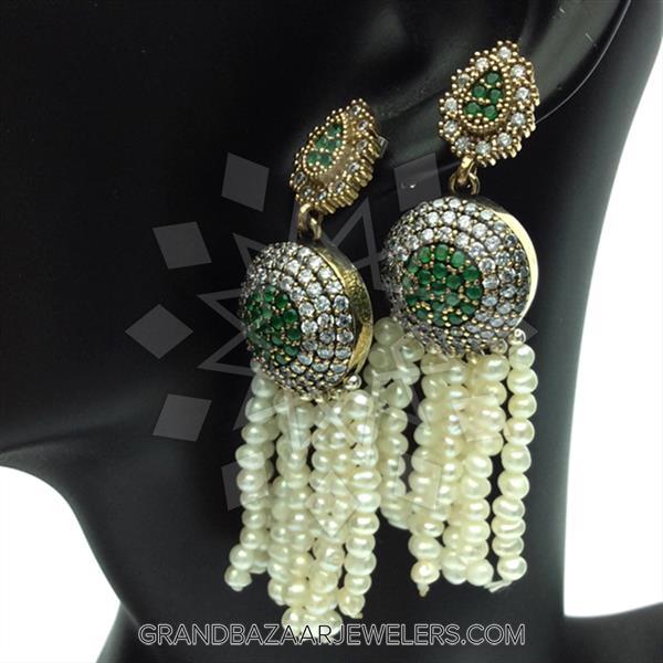 Gemstone Tassel Beaded Fringe Earrings