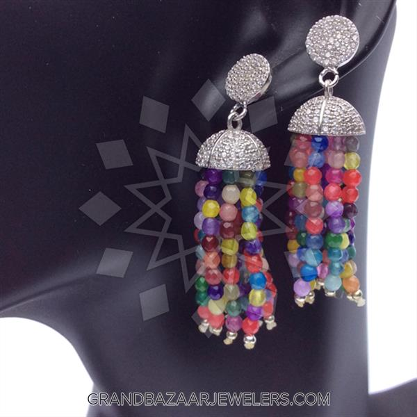 Beaded Gemstone Silver Necklace