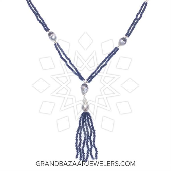 Gemstone Tassel Beaded Fringe Necklace