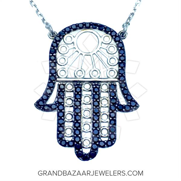 Hamsa Hand of Fatima Silver Necklace
