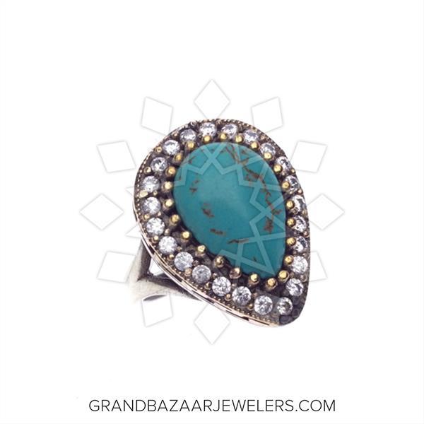 Hurrem Sultan Turkish Silver Blue Sapphire Jade Ring