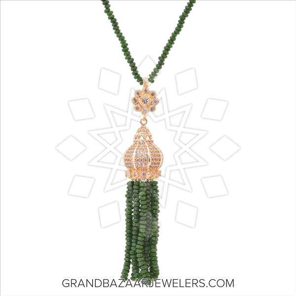 Long Beaded Gemstone Tassel Necklace