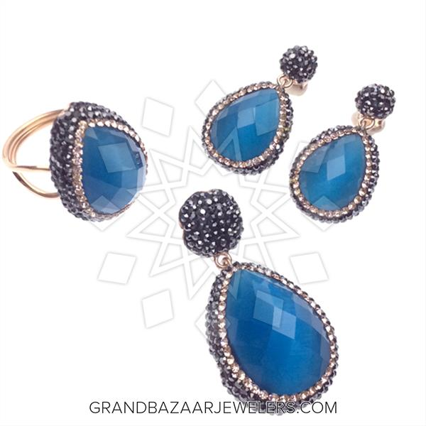 Gem and Crystal Artsan Silver Jewelry Sets