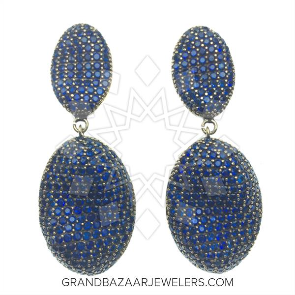 Pave Shapes Color Gemstone  Earrings